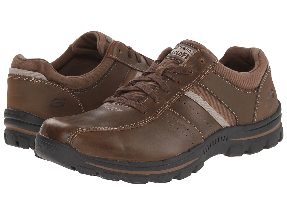 SKECHERS - Relaxed Fit Braver - Alfano (Dark Brown) Men's Lace up casual Shoes