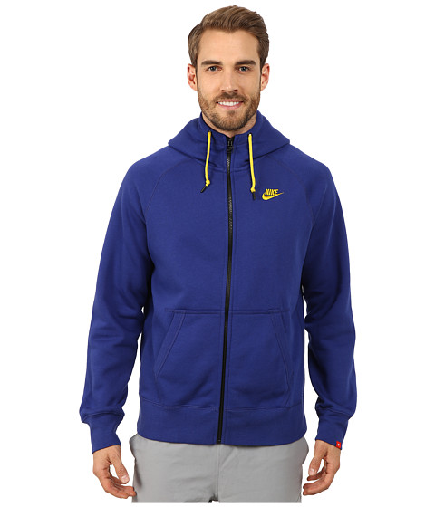 Nike - AW77 Fleece FZ Hoodie (Deep Royal Blue/Bright Citron) Men