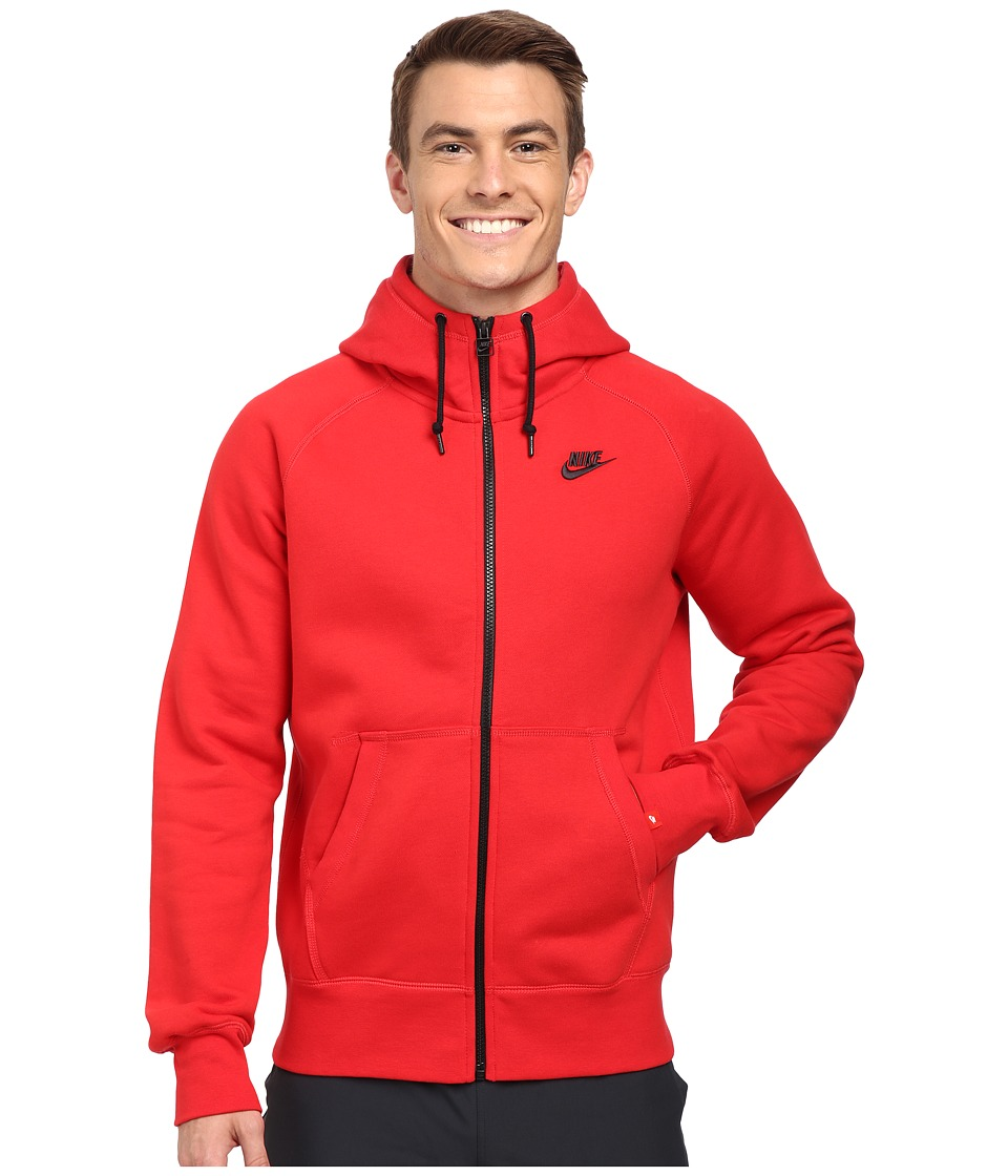 Nike - AW77 Fleece FZ Hoodie (University Red/Black) Men's Sweatshirt