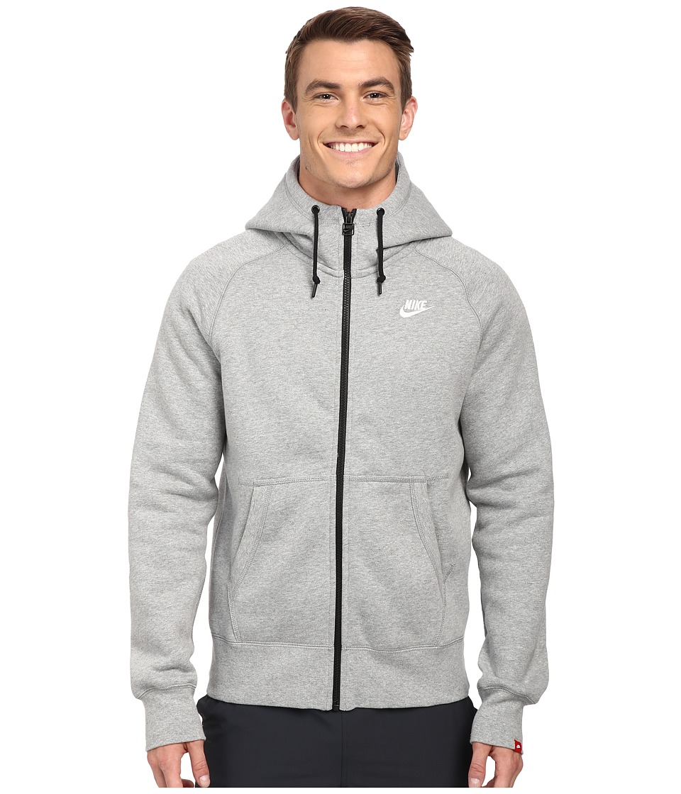 Nike - AW77 Fleece FZ Hoodie (Dark Grey Heather/Dark Grey Heather/White) Men's Sweatshirt