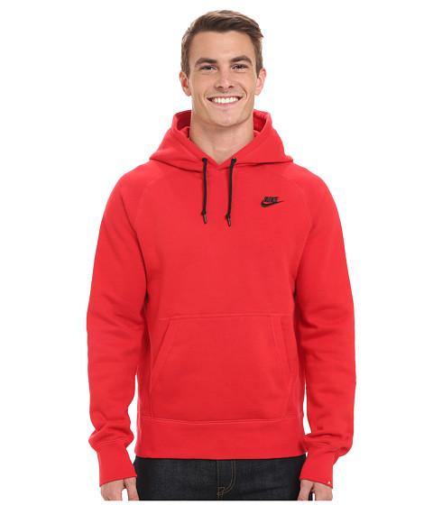 Nike - AW77 Fleece Pullover Hoodie (University Red/Black) Men's Sweatshirt