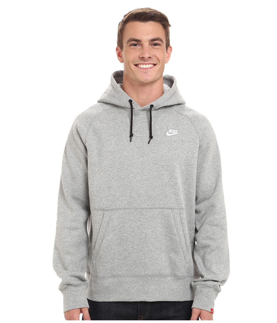 Nike - AW77 Fleece Pullover Hoodie (Dark Grey Heather/Dark Grey Heather/White) Men's Sweatshirt