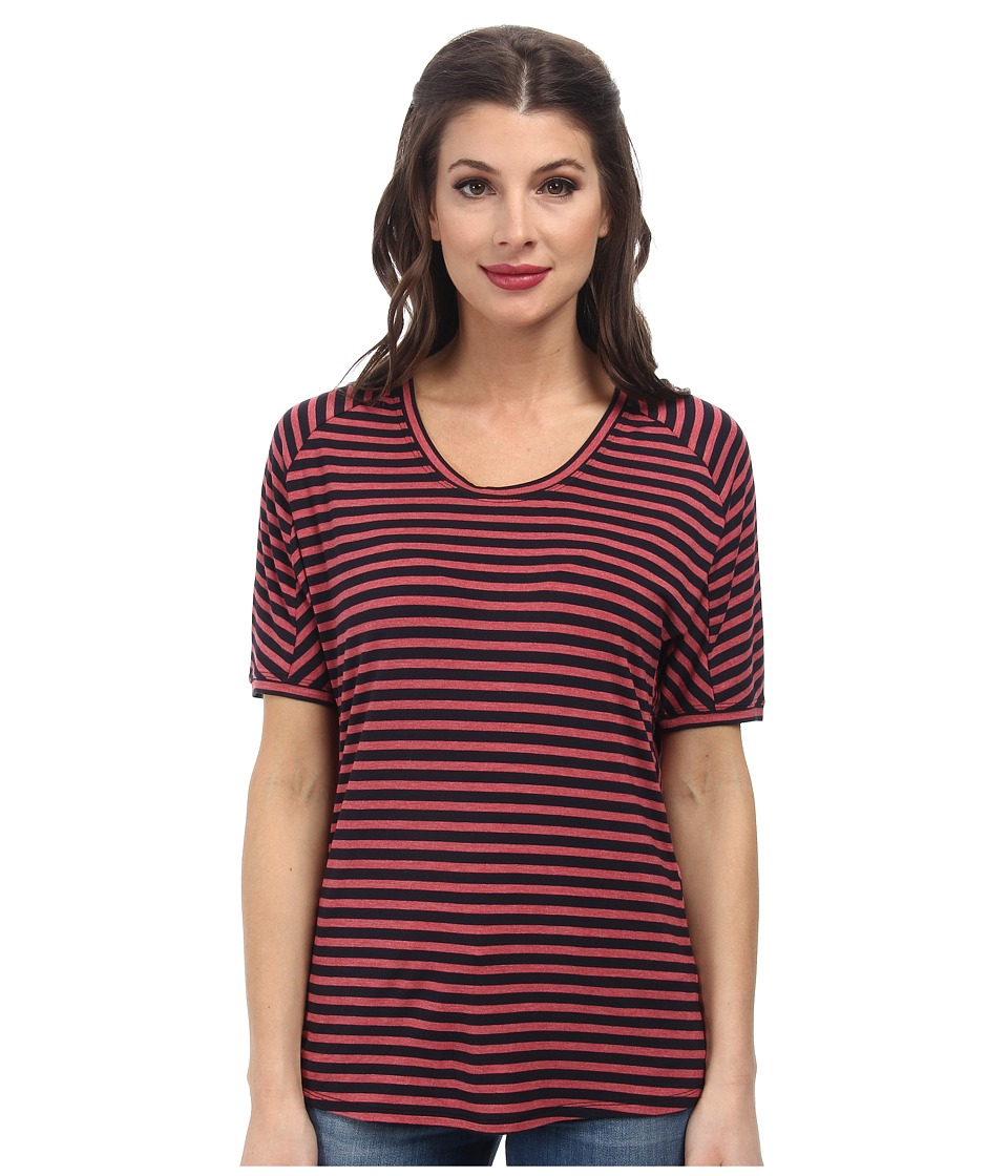 BCBGMAXAZRIA - Portia Knit Top (Navy/Red) Women's Short Sleeve Pullover
