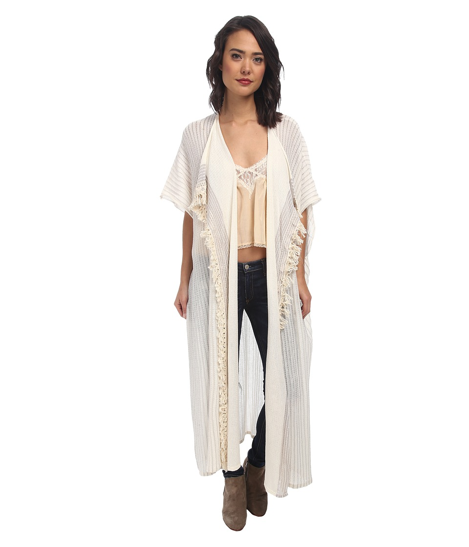 Free People - Maillot Fringe Kimono (Ivory Combo) Women's Sweater