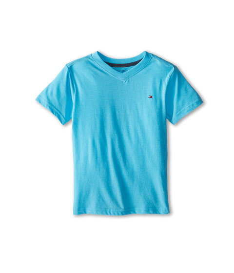 Tommy Hilfiger Kids - Tommy CVC V-Neck Tee (Toddler/Little Kid) (Serenity Blue) Boy's T Shirt