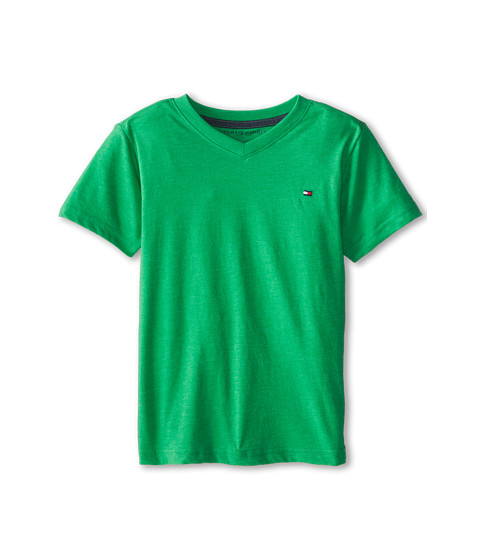 Tommy Hilfiger Kids - Tommy CVC V-Neck Tee (Toddler/Little Kid) (Jade Green) Boy's T Shirt