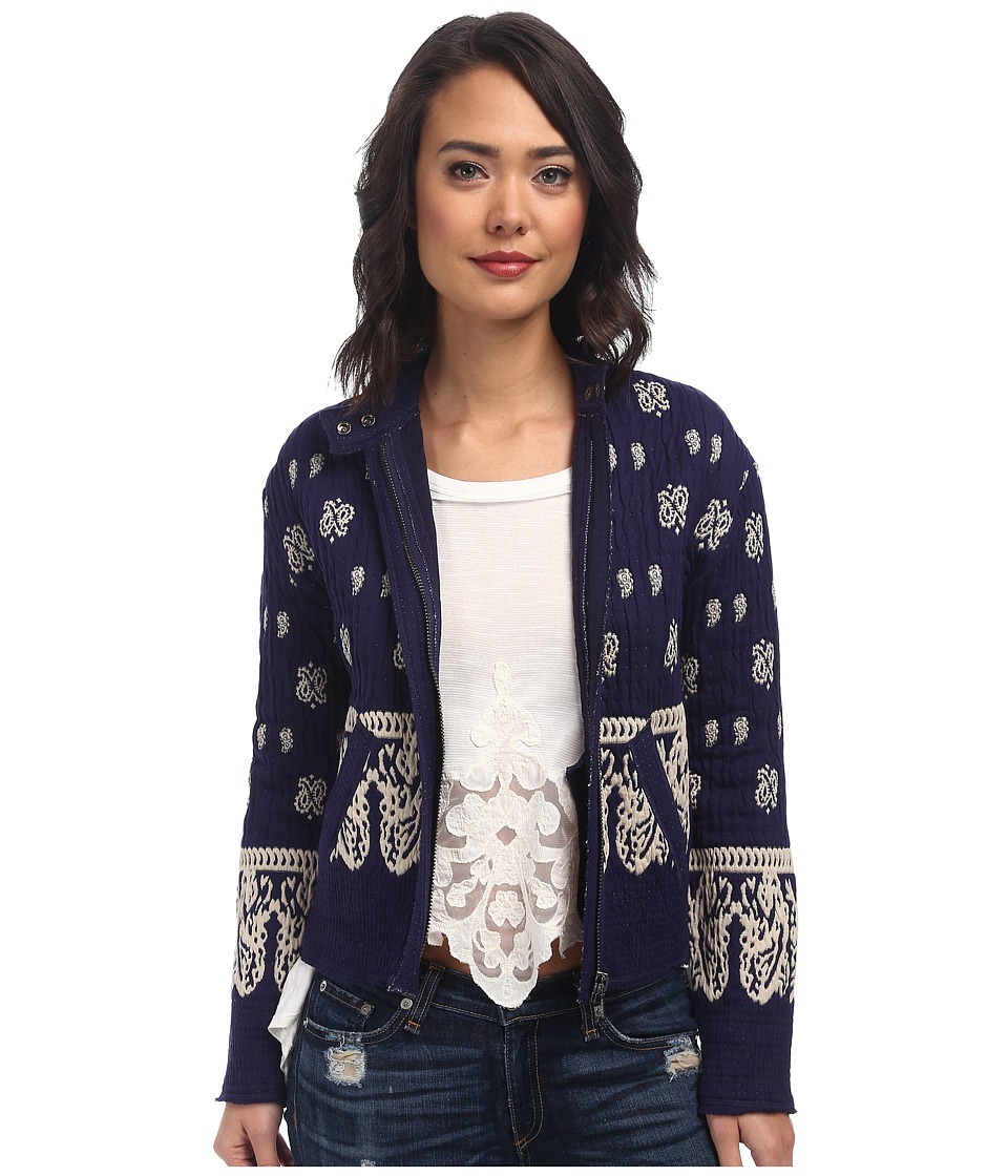 Free People - Riviera Pattern Jacket (Royal Blue Combo) Women's Coat