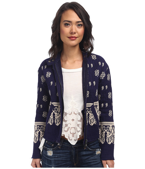 Free People - Riviera Pattern Jacket (Royal Blue Combo) Women