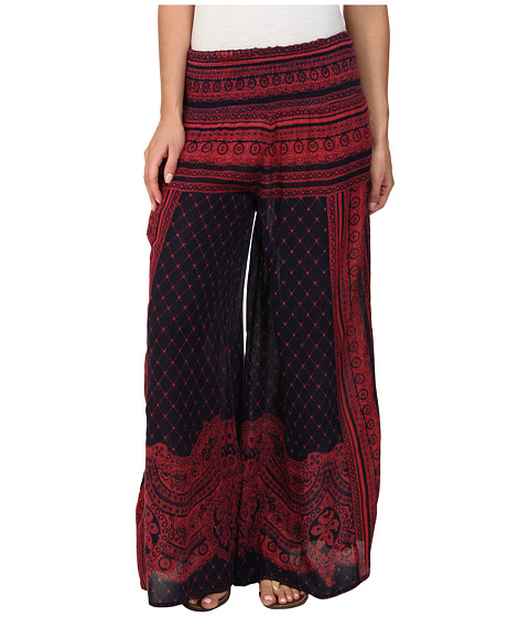 Free People - Printed Rayon Gauze Sahara Smocked Wideleg (Navy Combo) Women's Casual Pants