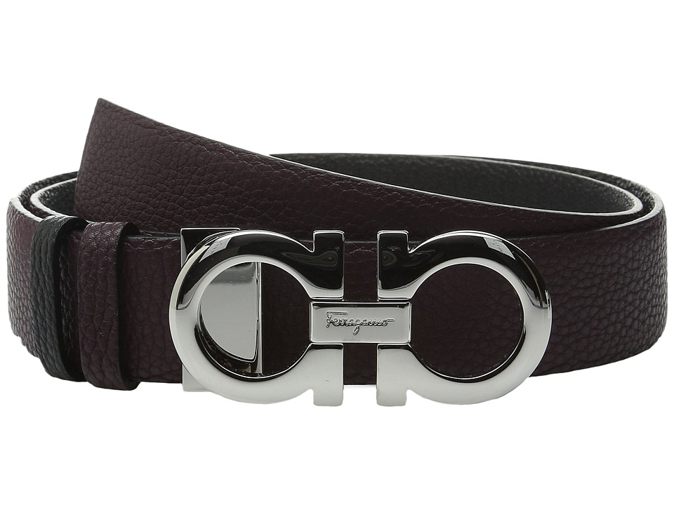 Salvatore Ferragamo - 23A564 Pebbled Gancini Belt (Rouge Noir) Women's Belts