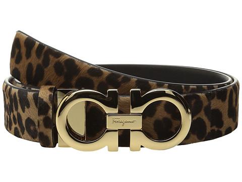 Salvatore Ferragamo - Leopard Double Gancini Belt (Cacao) Women's Belts