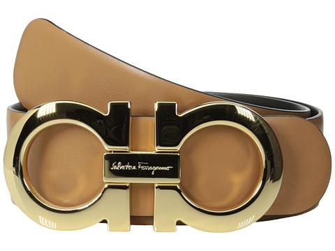 Salvatore Ferragamo - 237601 Double Gancini Wide Belt (Sienne) Women's Belts
