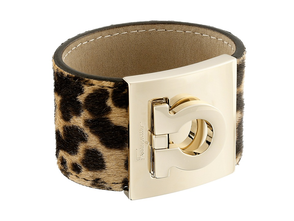 Salvatore Ferragamo - Gancini Wide Cuff Bracelet (Cacao/Beige) Bracelet