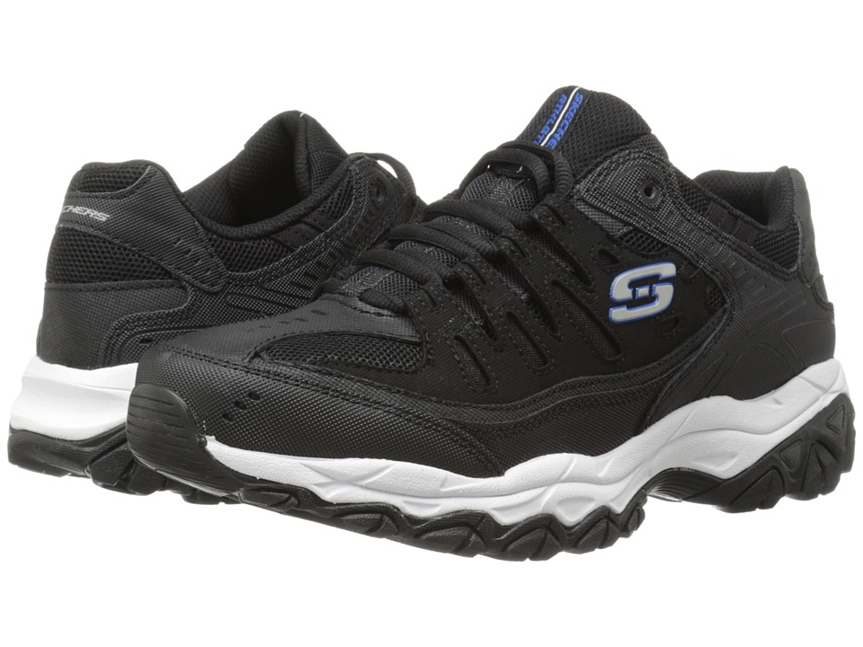 SKECHERS - Afterburn M. Fit (Black/Royal) Men's Lace up casual Shoes