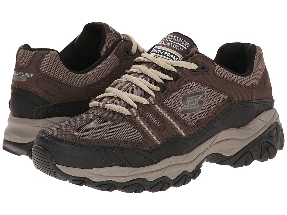 SKECHERS - Afterburn M. Fit Strike Off (Brown/Black) Men's Lace up casual Shoes