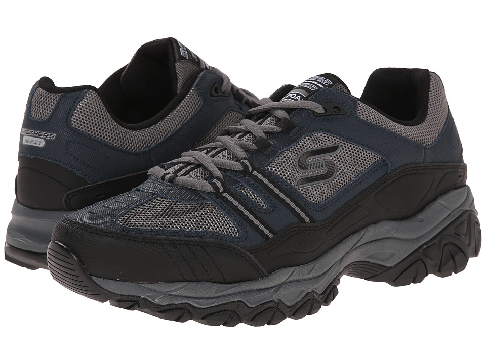 SKECHERS - Afterburn M. Fit Strike Off (Navy/Gray) Men's Lace up casual Shoes