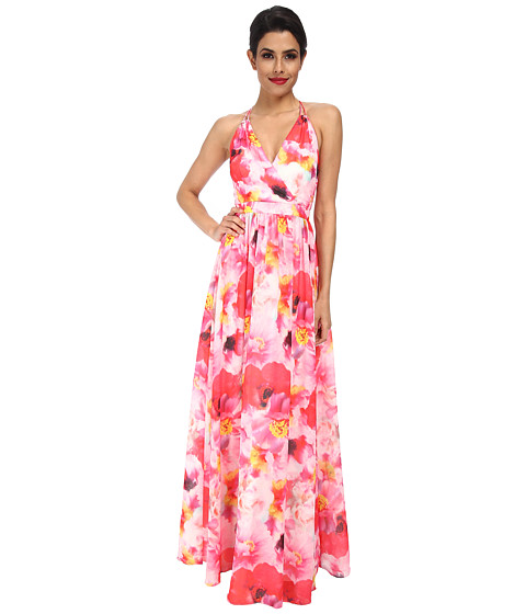 Aidan Mattox - Printed Floral Gown (Pink Multi) Women's Dress