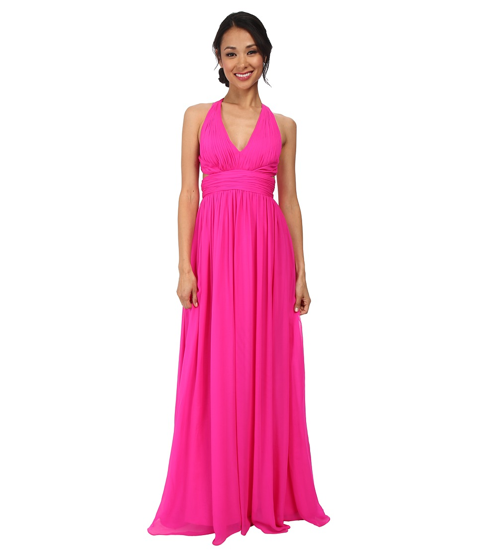 Aidan Mattox Chiffon Long Halter with Cutout Waist Detail (Fuchsia) Women