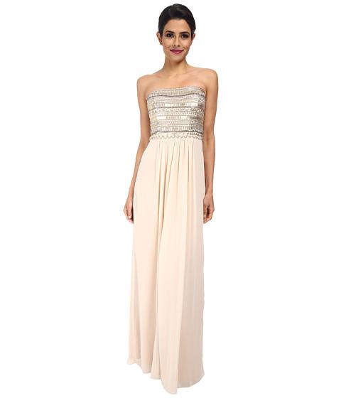 Aidan Mattox - Strapless Gown with Beaded Bust Detail (Blush) Women's Dress
