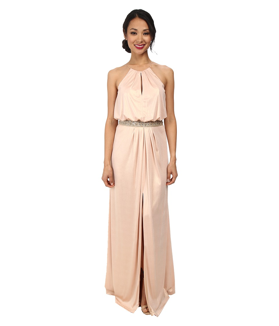 Aidan Mattox Long Jersey Halter Gown with Beaded Waist (Blush) Women