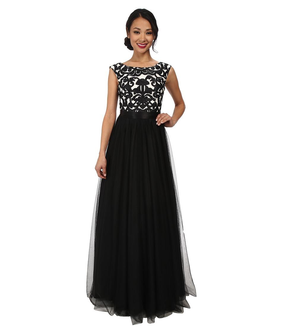 Aidan Mattox - Embroidered Ball Gown (Black/Ivory) Women's Dress