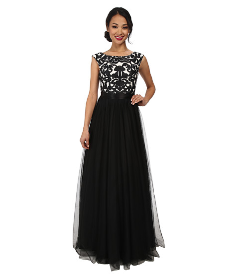 Aidan Mattox - Embroid Ball Gown (Black/Ivory) Women