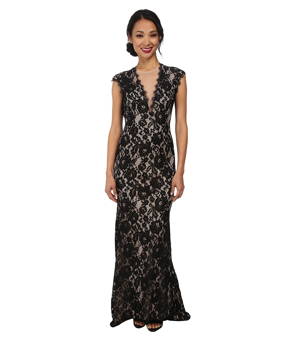 Aidan Mattox - Stretch Lace Long Gown w/ Open Back (Black/Nude) Women's Dress