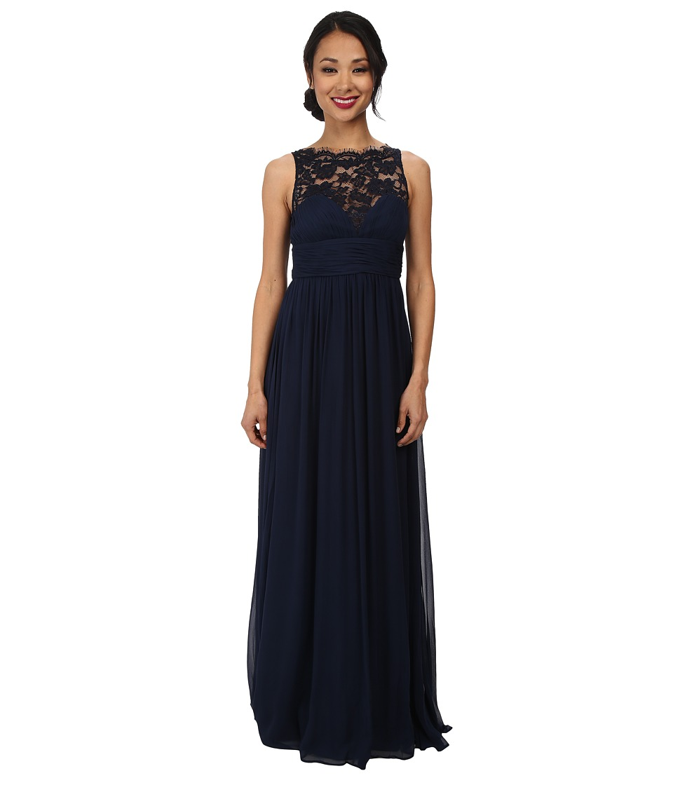 Aidan Mattox - Lace Illusion Long Chiffon Gown (Twilight) Women's Dress