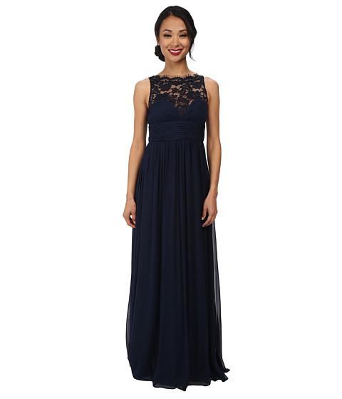 Aidan Mattox - Lace Illusion Long Chiffon Gown (Twilight) Women
