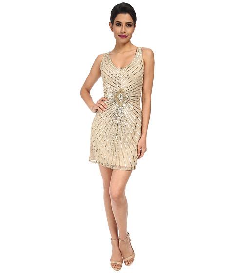 Aidan Mattox - Beaded Tank Dress with Diamond Motif (Champagne) Women