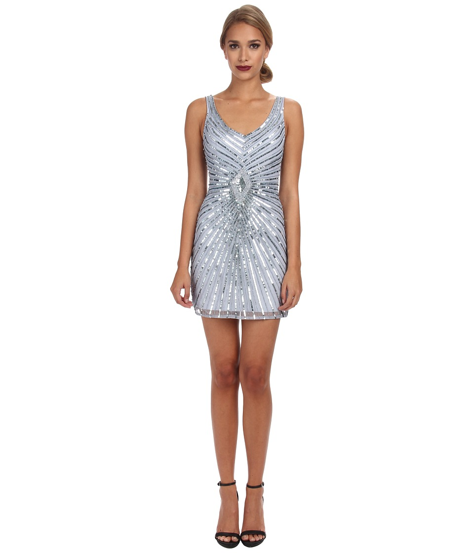 Aidan Mattox - Beaded Tank Dress with Diamond Motif (Light Blue) Women's Dress