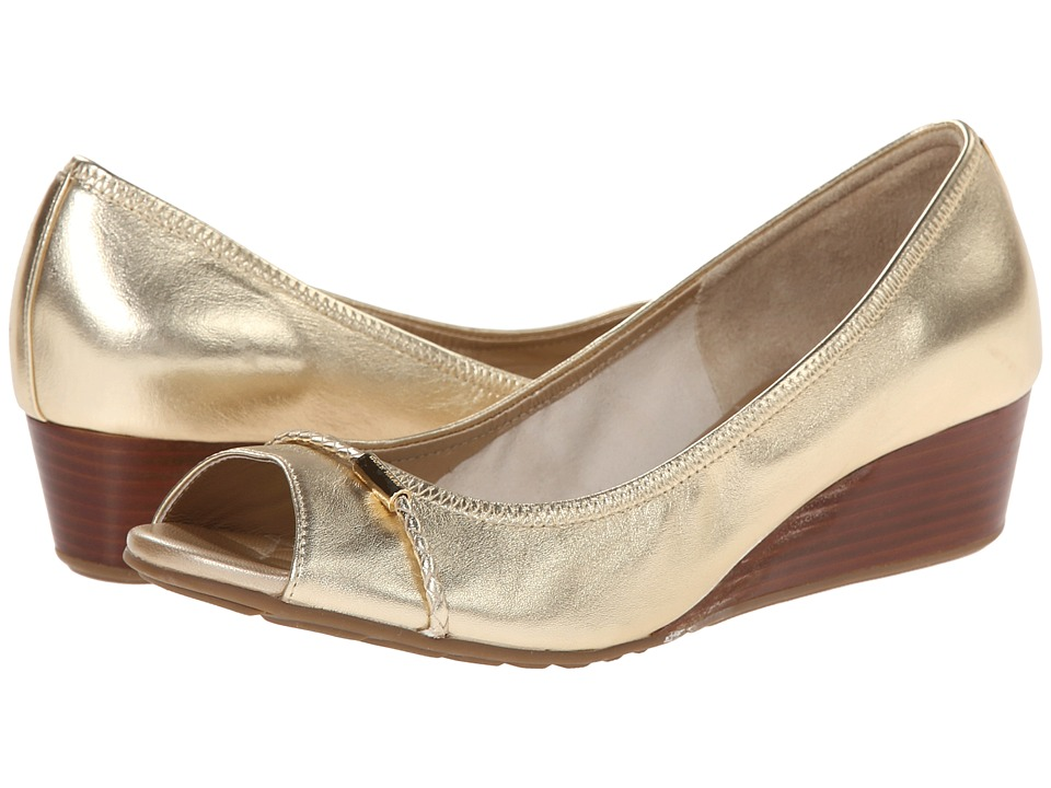 Cole Haan - Tali Open Toe Wedge 40 (Soft Gold) Women's Wedge Shoes