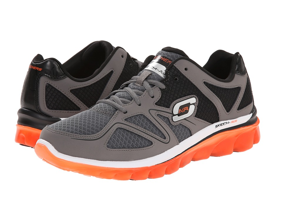 SKECHERS - Skech Air 2.0 Brain Freeze (Charcoal/Orange) Men's Lace up casual Shoes