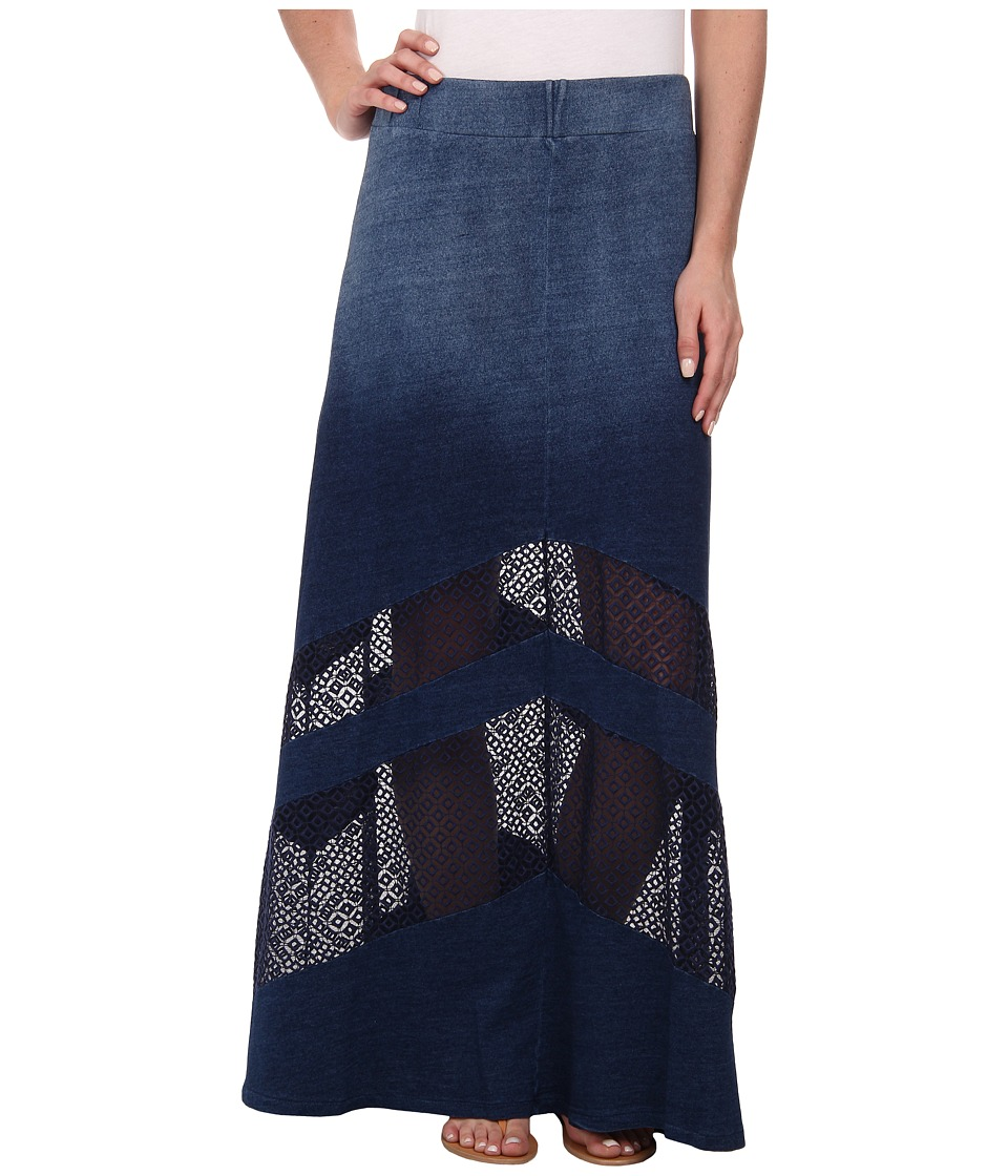 DKNY Jeans - Knit Denim Maxi Skirt with Mesh (Indigo) Women's Skirt