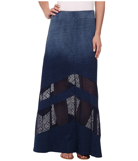 DKNY Jeans - Knit Denim Maxi Skirt with Mesh (Indigo) Women