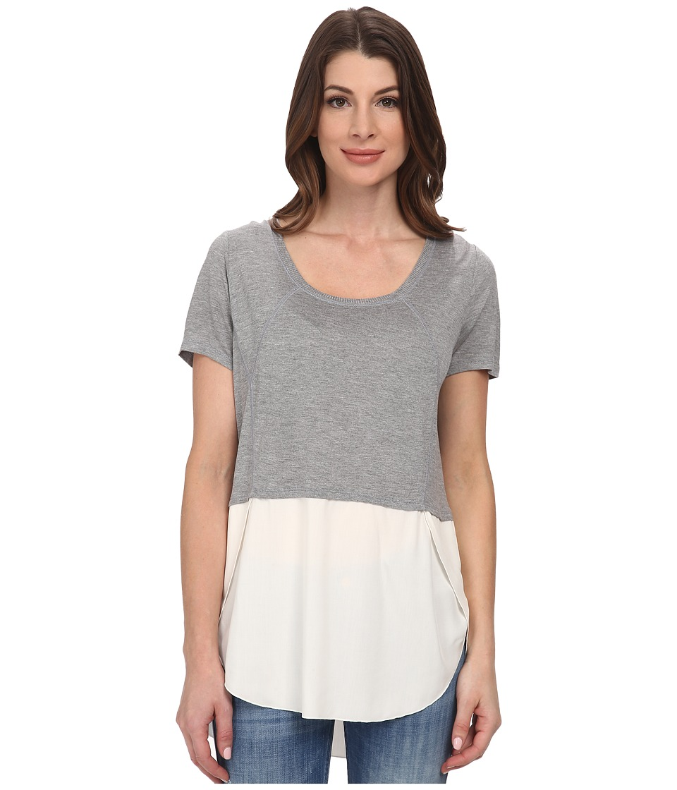 DKNY Jeans - Mixed Fabric Top (Smoke Grey Heather) Women's Clothing