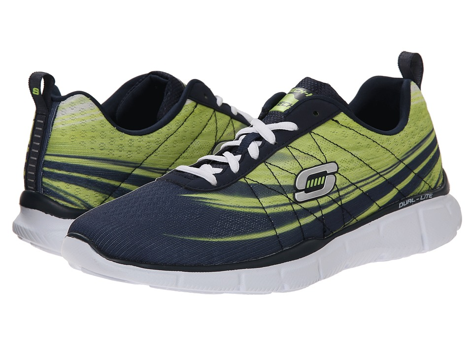 SKECHERS - Equalizer Split Up (Navy/Lime) Men's Lace up casual Shoes