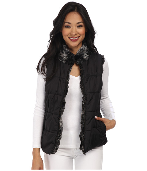 Dylan by True Grit - Revesable Silky Puffer Vest (Textured Black) Women
