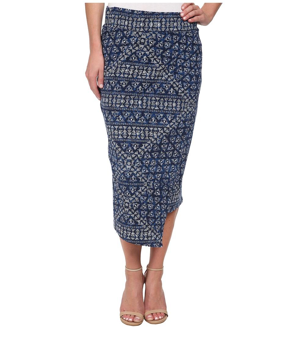 DKNY Jeans - Batik Print Wrap Maxi Skirt (Mood Indigo) Women's Skirt