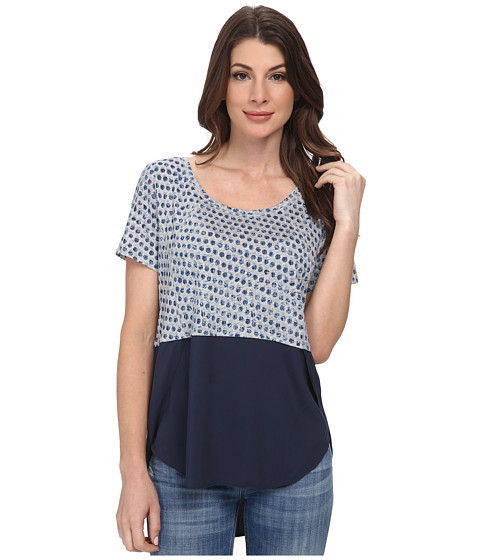 DKNY Jeans - Paper Dots Print Mixed Fabric Top (Mood Indigo) Women