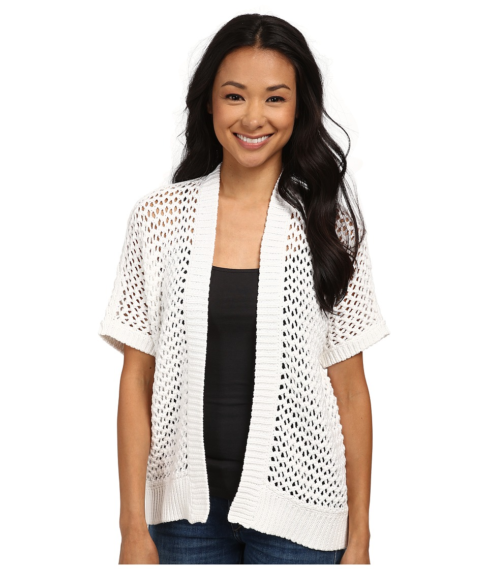 DKNY Jeans - Short Sleeve Mesh Stitch Cardi (White) Women's Sweater