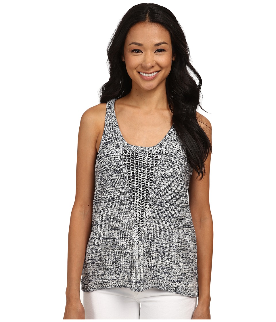 DKNY Jeans - Mesh Vee Tank Top (Mood Indigo) Women's Sleeveless