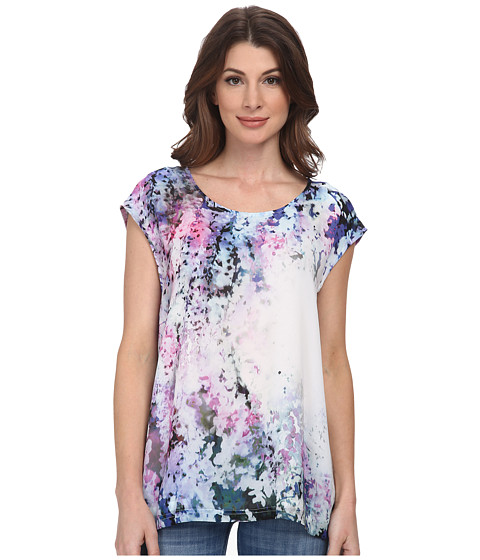 DKNY Jeans - Sunset Florals Print Crossover Back Top (Azalea) Women's Sleeveless
