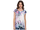 DKNY Jeans Sunset Florals Print Crossover Back Top