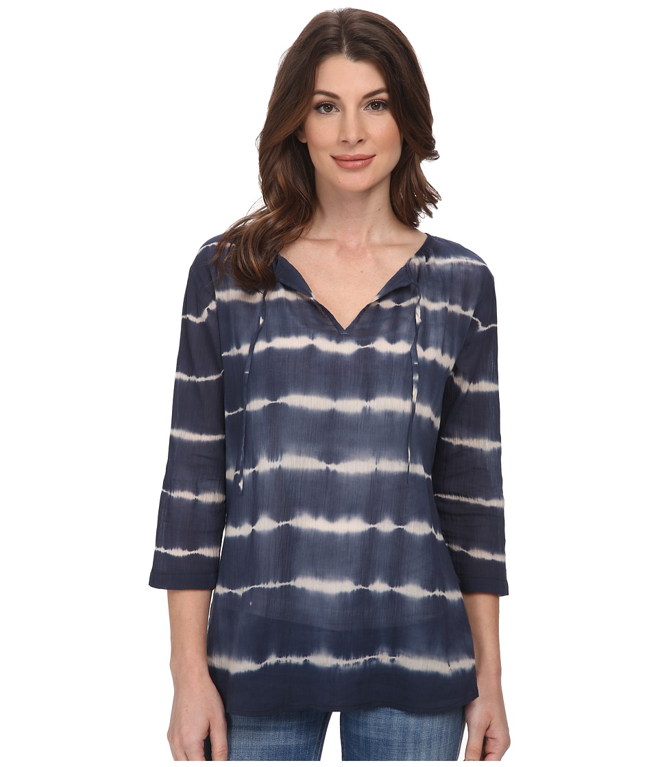 DKNY Jeans - Tie-Dye Gauze Top (Mood Indigo) Women's Long Sleeve Pullover