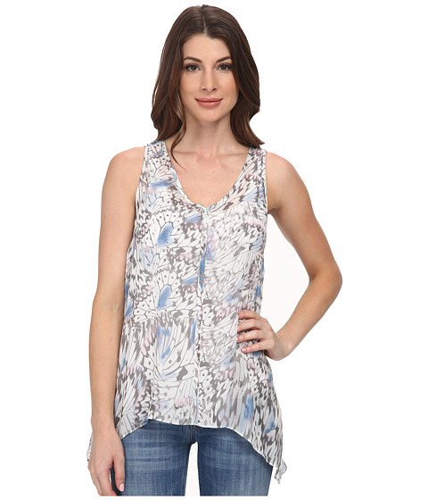 DKNY Jeans - Tonal Butterfly Printed Tank Top (Dove) Women's Sleeveless