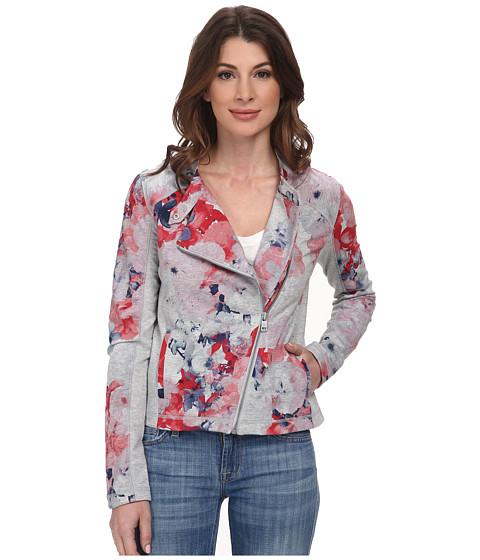 DKNY Jeans - Floral Printed Moto Jacket (Light Smoke Heather Grey) Women's Coat