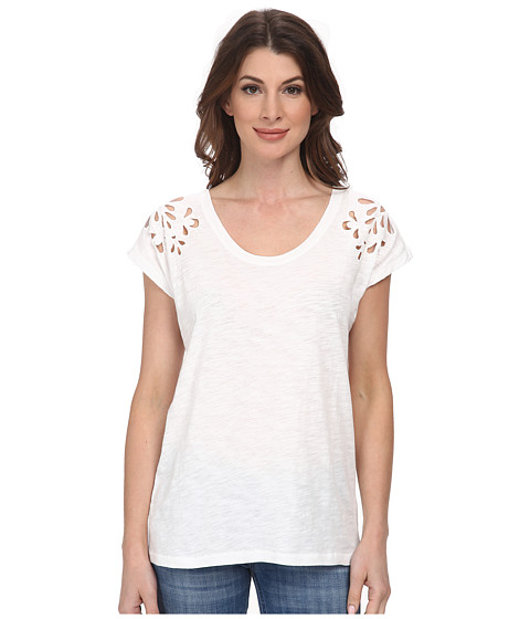 DKNY Jeans - Embroidered Eyelet Tee (White) Women's T Shirt