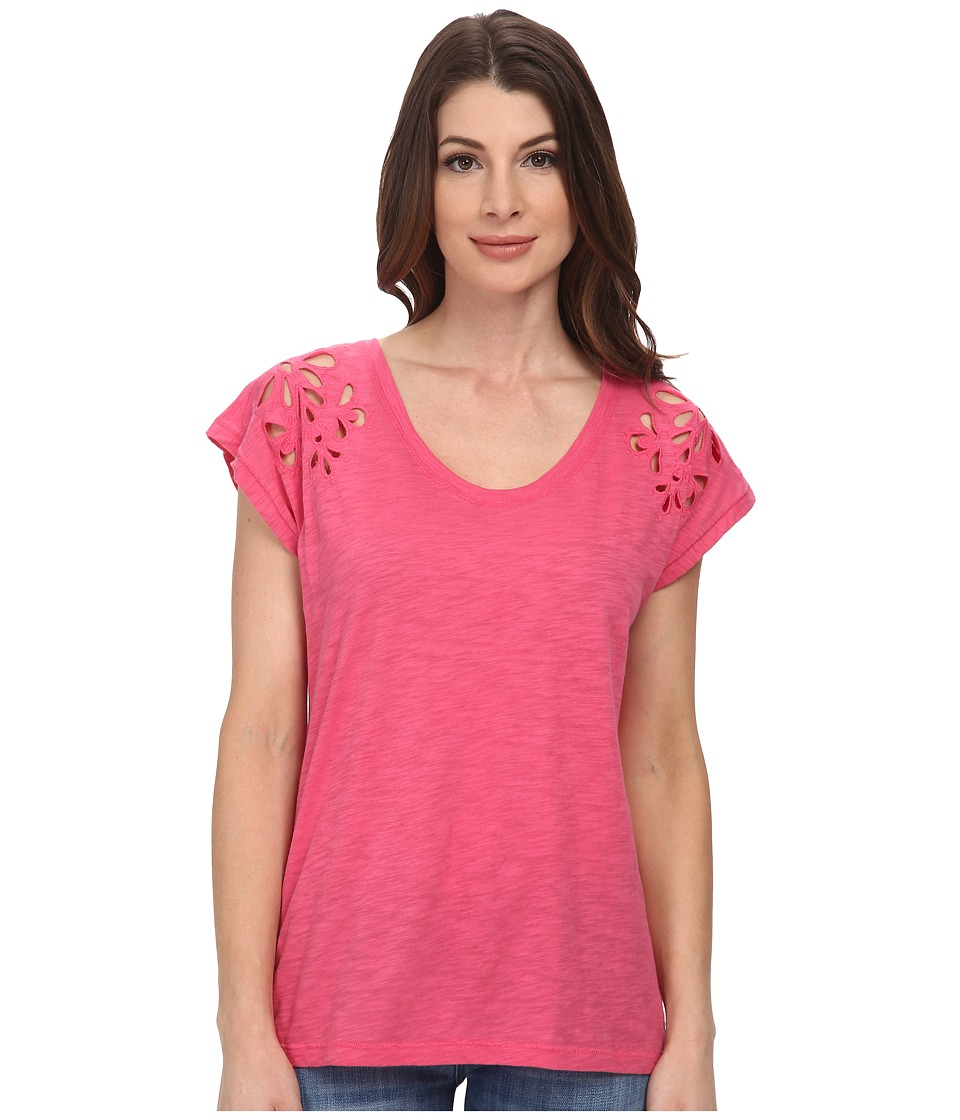 DKNY Jeans - Embroidered Eyelet Tee (Azalea) Women's T Shirt
