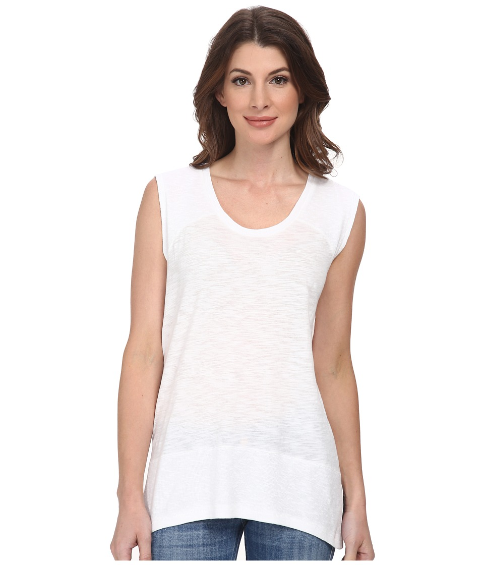 DKNY Jeans - Sharkbite Slub Tank Top (White) Women's Sleeveless
